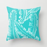 Modern Palm Leaves - Turquoise Blue and White Throw Pillow