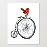 bird on a bicycle. Canvas Print