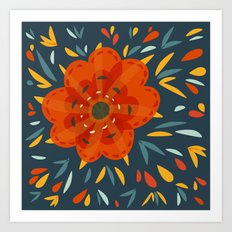 Decorative Whimsical Orange Flower Art Print