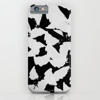 iPhone & iPod Case featuring Black Bird Wings on Grey by Pencil Me In ™