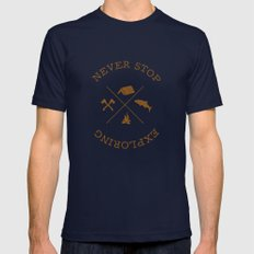NEVER STOP EXPLORING Mens Fitted Tee Navy SMALL