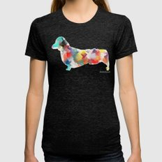 The Dachshund Mode Womens Fitted Tee Tri-Black SMALL