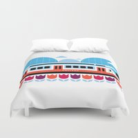 Postcards from Amsterdam / Train and Tulips Duvet Cover