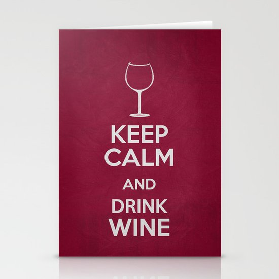 Keep Calm - Drink Wine Poster Stationery Card