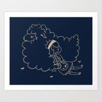 Girl And Sheep. Art Print