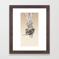 Bumlebee & flowers Framed Art Print