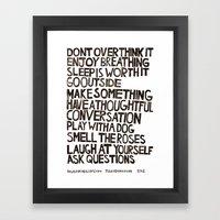 Rules for Healthy Living Framed Art Print