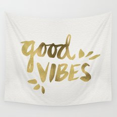 Good Vibes – Gold Ink Wall Tapestry