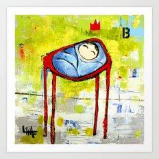 Baby in High Chair Art Print