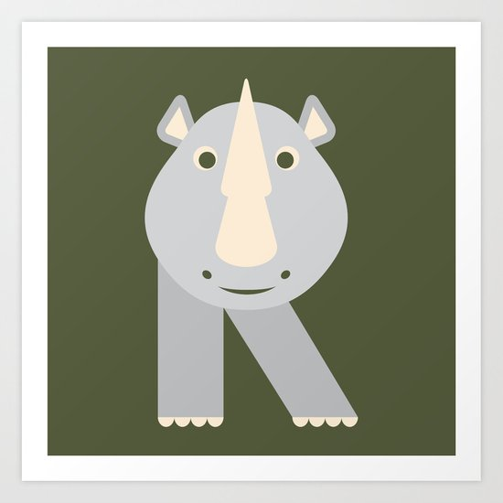 Letter R Animal Alphabet Rhino Art Print By Jen