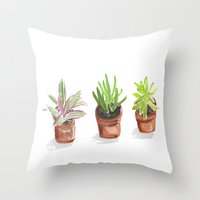 3 Potted Plants Throw Pillow