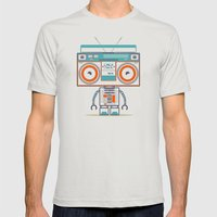 Music Robot Mens Fitted Tee Silver SMALL