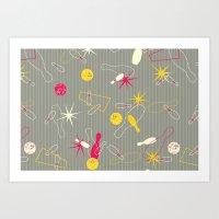 Bowling Pinstripe Art Print