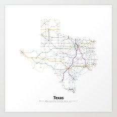 Highways of the USA – Texas Art Print