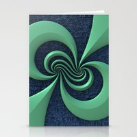 Green on Blue Stationery Cards