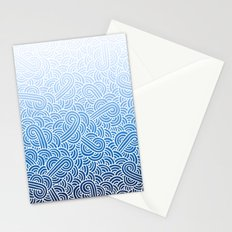 Ombre blue and white swirls doodles Stationery Cards