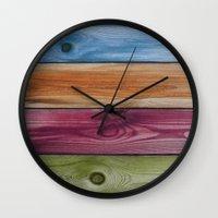 Wooden Rainbow Wall Clock