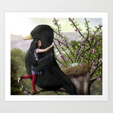 Girl embraces Blackbird Art Print