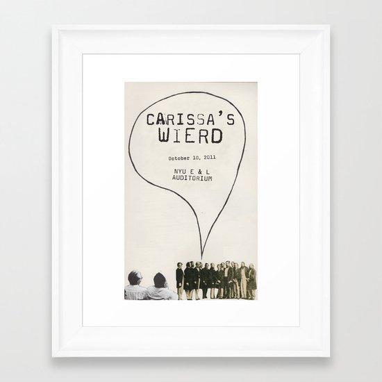 carissa's wierd concert poster Framed Art Print