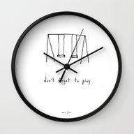 Wall Clock featuring Don't Forget To Play by Marc Johns