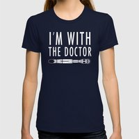 I'm With The Doctor Womens Fitted Tee Navy SMALL