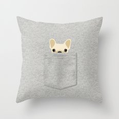 Pocket French Bulldog - Cream Throw Pillow