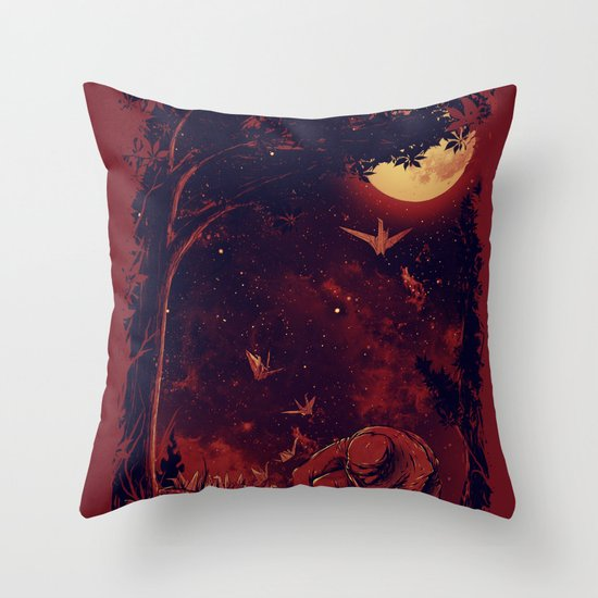 Night at the Origami Garden Throw Pillow