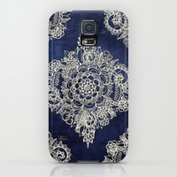 Galaxy S5 Cases featuring Cream Floral Moroccan Pattern on Deep Indigo Ink by micklyn