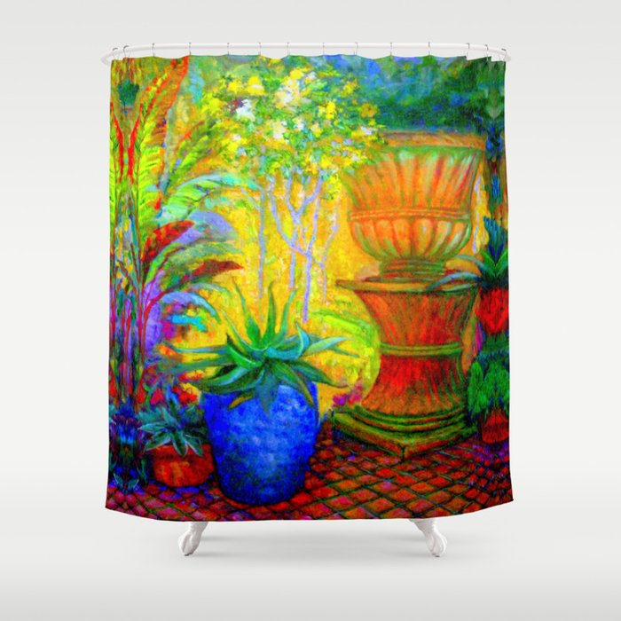 Colorful Tropical GardenLandscape Painting Shower Curtain