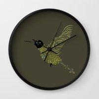 Abstract Hummingbird Wall Clock