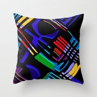 Multicoloured and Black Abstract Pattern Throw Pillow