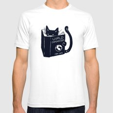 World Domination For Cats SMALL Mens Fitted Tee White