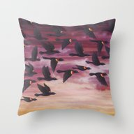 Throw Pillow featuring Red-winged Blackbird Flo… by Sarah Knight