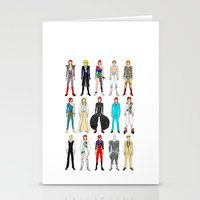 Outfits of Bowie Fashion on White Stationery Cards