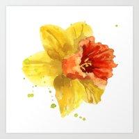 Springtime, flowers, flower paintings, flower clocks, spring, easter, daffodil watercolors Art Print