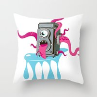 Monster Camera Throw Pillow