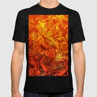 Fall Orange Watercolor H… Mens Fitted Tee Tri-Black SMALL