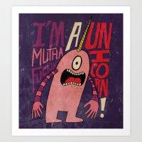 Mutha F'n Unicorn Art Print