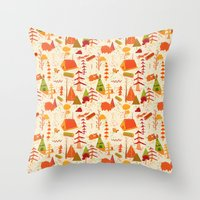 woods pattern Throw Pillow