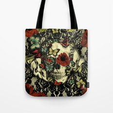 Vintage Gothic Lace Skull Tote Bag