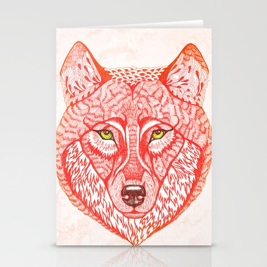 Red wolf Stationery Card