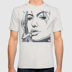 Angelina Jolie Mens Fitted Tee Silver SMALL