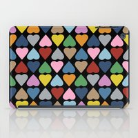 Diamond Hearts On Black iPad Case