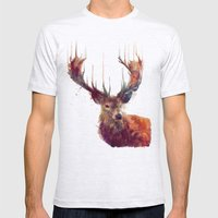 Red Deer // Stag Mens Fitted Tee Ash Grey SMALL