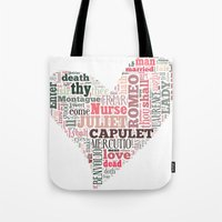 Shakespeare's Romeo and Juliet Heart Tote Bag