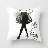 Hello Friday Throw Pillow