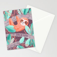 Hang in There Sloth Stationery Cards