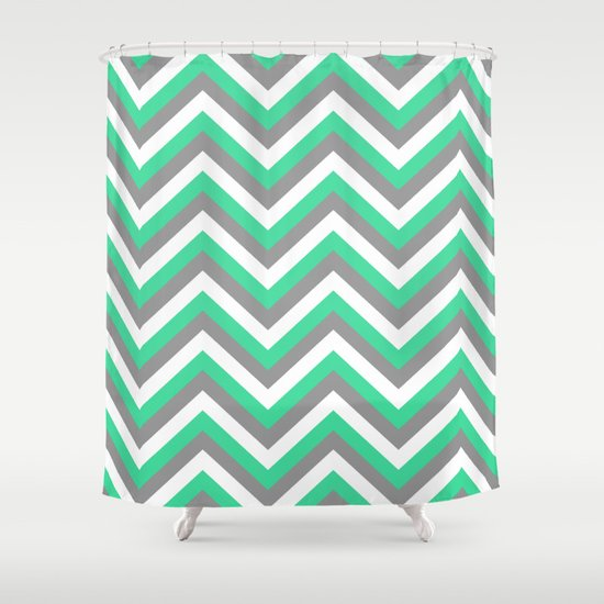 Mint Green, White, and Grey Chevron Shower Curtain by Rebekah Joan ...