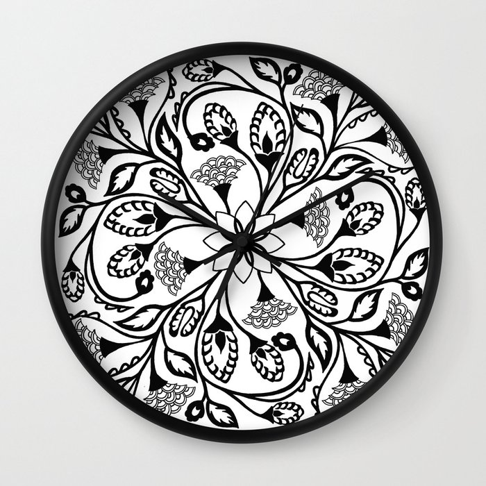 Wall Clock Floral Design : Intricate floral design wall clock by emily mei