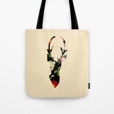 Flower Deer Silhouette Tote Bag